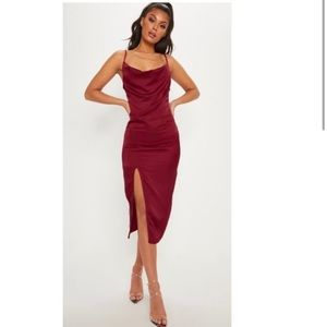 NWT PLT Satin Cowl Neck Midi Dress with Slit